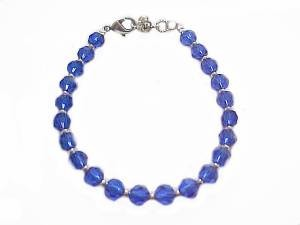 Plus Size Bracelet Blue Beads 8 Inch or 9 Inch
