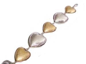 "Plus Size Bracelet Hearts Gold and Silver 8"" to 9"""