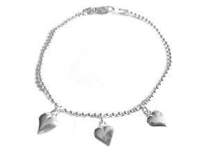 Plus Size Bracelet Sterling Silver 3 Puffed Hearts