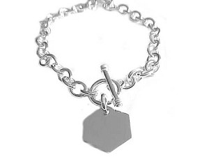 Plus Size Bracelet Sterling Silver Hexagon 8 to 10""