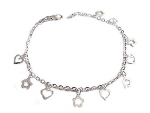 Plus Size Bracelet Sterling Silver Open Hearts