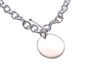Plus Size Bracelet Sterling Silver Round Disk