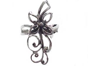 Plus Size Ring Sterling Silver Large Flower