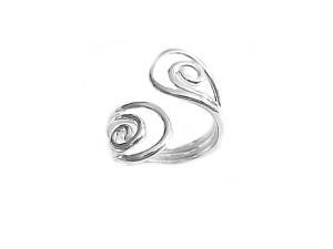 Plus Size Ring Sterling Silver Open Swirls