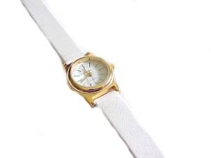 Plus Size Watch White Strap Gold Rim Face 8 Inch