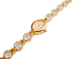Plus Size Watch Gold Tone Fancy Crystal