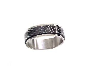 Worry Ring Stainless Steel Kris Cross to Size 13