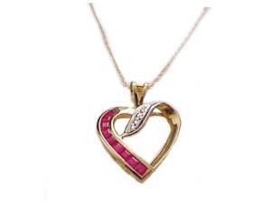 14K Gold Necklace Ruby and Diamond Heart