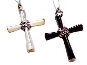 Sterling Silver Cross Marcasite Mother of Pearl