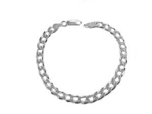 Men's Plus Size Sterling Silver Curb Bracelet 9""