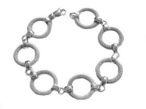 Sterling Silver Plus Size Bracelet Small Mesh Circle