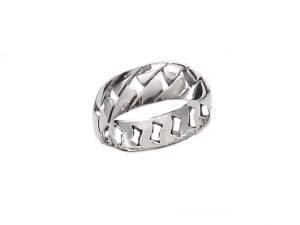 Large Size Ring Sterling Silver Woven Band