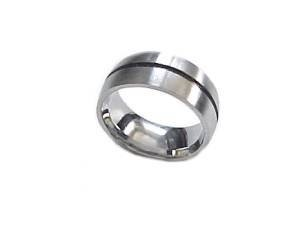 Large Size Ring Steel Wedding Band Accent