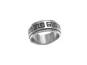 Large Size Worry Ring Spinner Ring Greek Key