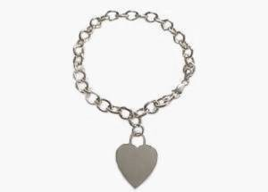 14k White Gold Plus Size Bracelet Heart Tag