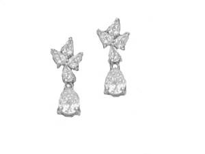 Pear Shape Cz Sterling Silver Earrings