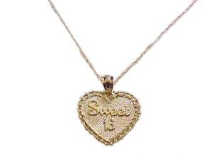 Gold Necklace 14k Gold Sweet Sixteen Heart