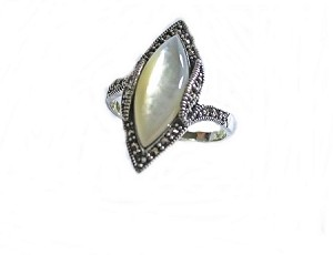 Sterling Silver Plus Size Ring Mother of Pearl