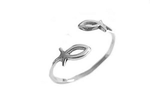 Plus Size Ring Silver Double Icthus