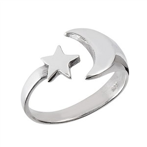 Plus Size Sterling Silver Moon and Star Polished