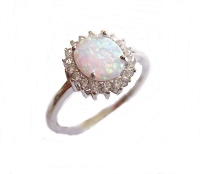 White Opal Silver Large Size Ring