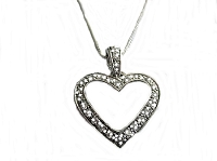 Sterling Silver Cz Heart Long Necklace