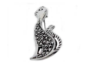 Sterling Silver Pin Marcasite Cat