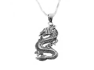 Men's Sterling Silver Dragon and Chain