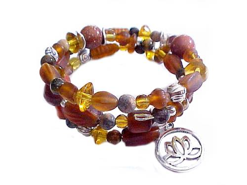 Plus Size Bracelet Brown Spiral Charms