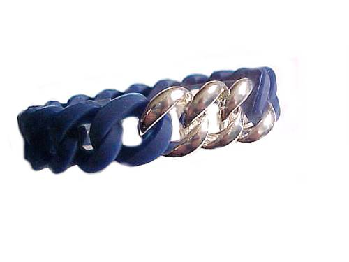 Plus Size Bracelet Navy Silicone Silver Links