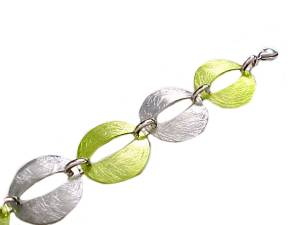 Plus Size Bracelet Silver and Green 8- 9 Inch