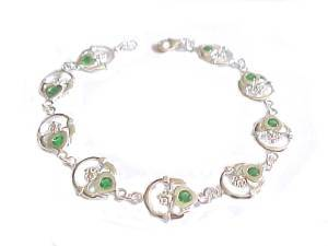 Claddagh Green Cz Plus Size Bracelet Silver