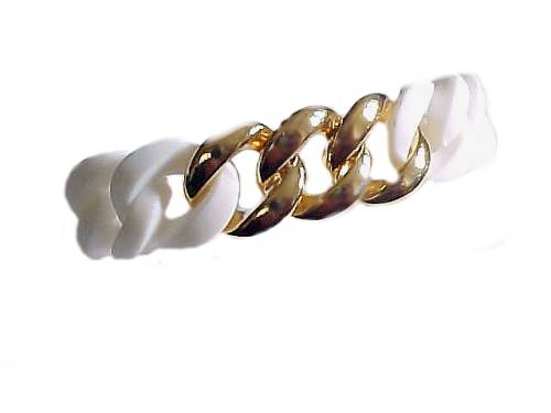 Plus Size Bracelet White Silicone Gold Links