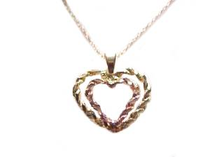 14k Gold Heart Necklace Double Heart