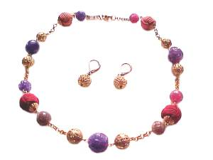 Plus Size Necklace and Earrings Round Beads
