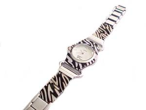 Plus Size Watch Animal Print Silver 8 Inch