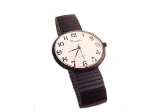 Plus Size Watch Ez Read Black Stretch Band