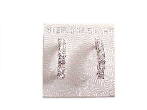 Sterling Silver Earrings Clear Cz Half Hoops