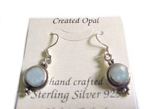 Sterling Silver Earrings White Opal Earrings