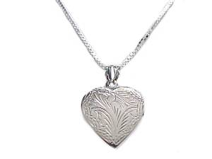 Plus Size Necklace Silver Heart Locket