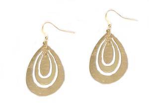 Triple Oval Hoop Earrings Gold Tone