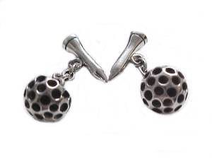 Silver Cuff Links Golf Ball and Tee
