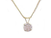 14K Gold Necklace Cz Pendant Necklace