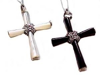 Mother of Pearl Sterling Silver Cross Marcasite