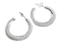 Sterling Silver Earrings Mesh Hoop Earrings