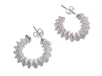 Zig Zag Sterling Silver Earrings Hoop Earrings