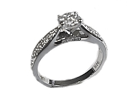 Plus Size Engagement Ring Round Pave