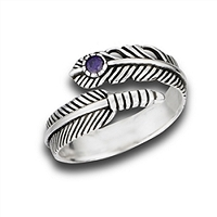 Plus Size Ring Silver Feather with Amethyst