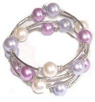 Purples and White Bracelet Large Size 8-9-10
