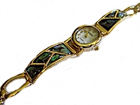 Plus Size Watch Gold Arched Abalone